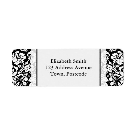 Black and white damask pattern return address label