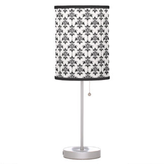 Black and White Damask Pattern Table Lamps