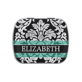 Black and White Damask Pattern with Custom Name