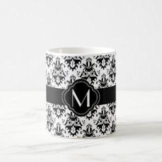 Black and White Damask Pattern with Monogram Basic White Mug