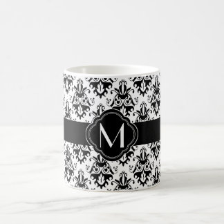 Black and White Damask Pattern with Monogram Classic White Coffee Mug