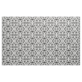 Black and White Damask Patterned Fabric