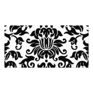 Black and White Damask Personalized Photo Card