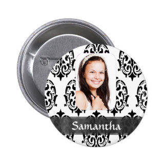 Black and white damask photo template 2 inch round button