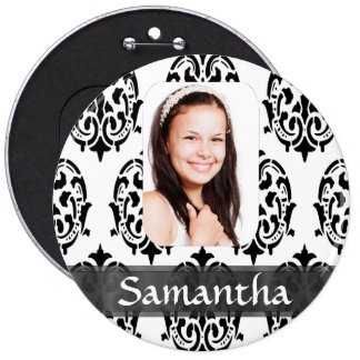 Black and white damask photo template pins