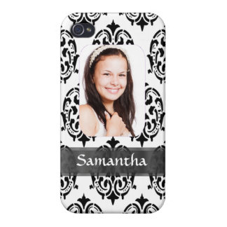 Black and white damask photo template case for iPhone 4