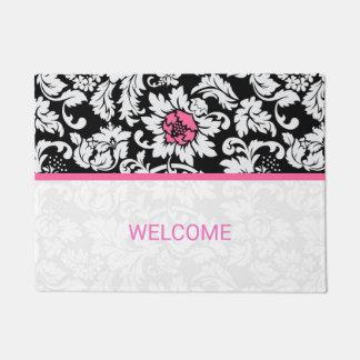 Black And White Damask Pink Stripe Doormat
