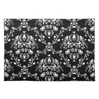 Black and White Damask Place Mat
