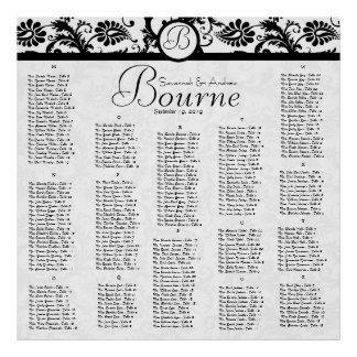 Black and White Damask Reception Seating Chart Poster