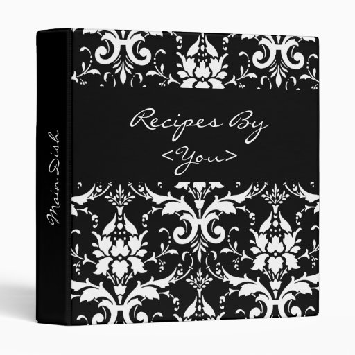 Black and White Damask Recipe Cook Book Binder