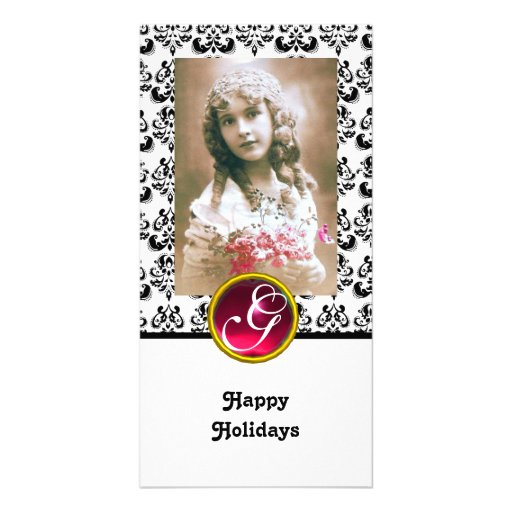 BLACK AND WHITE DAMASK Red Ruby Monogram Photo Card Template