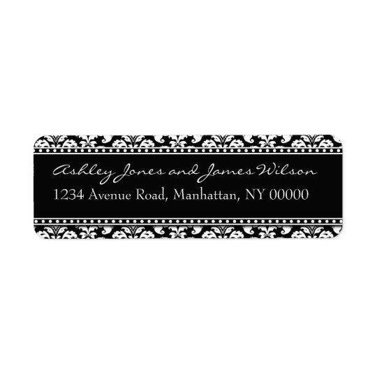 Black and White Damask Return Address Labels