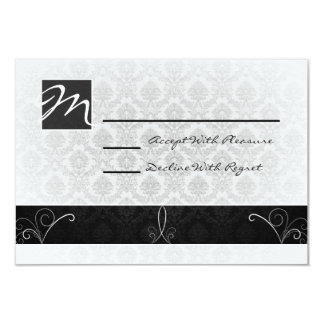 Black and White Damask RSVP Card