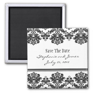Black and White Damask Save The Date Magnet