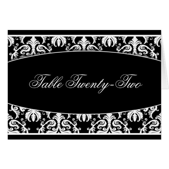 Black and White Damask Table Seating Cards