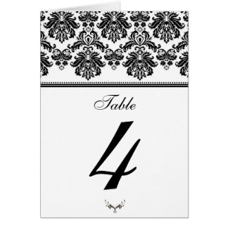 Black and White Damask Table Seating Number Card