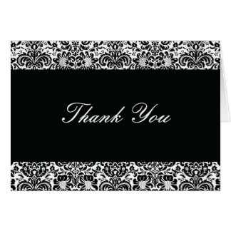 Black and White Damask Thank You Note Card