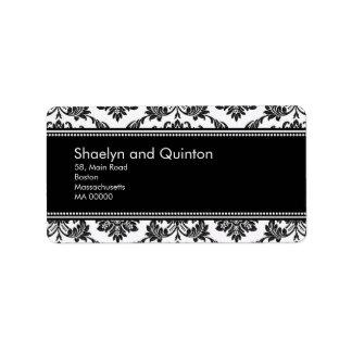 Black and White Damask Wedding Address Labels