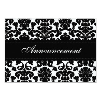 "Black and White Damask Wedding Cancellation Card 3.5"" X 5"" Invitation Card"