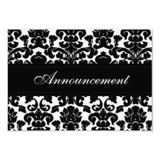 "Black and White Damask Wedding Cancellation Card 3.5"" X 5"" Invitation Card"