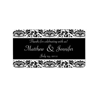 Black and White Damask Wedding Favor Labels Personalized Address Label