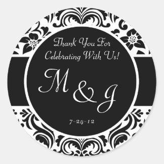 Black and White Damask Wedding Favor Labels