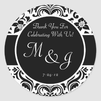 Black and White Damask Wedding Favor Labels Round Sticker