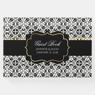 Black and White Damask Wedding Guest Book