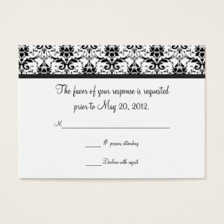 Black and White Damask Wedding RSVP Card