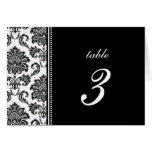 Black and White Damask Wedding Table Number Stationery Note Card