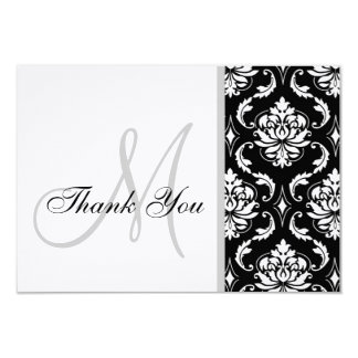 "Black and White Damask Wedding Thank You Card 3.5"" X 5"" Invitation Card"