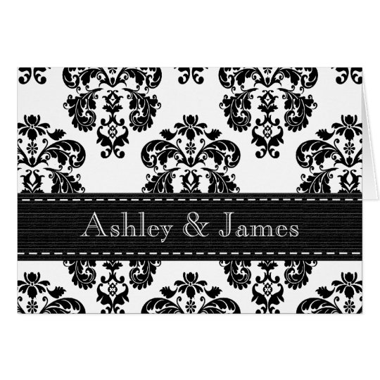 Black and White Damask Wedding Thank You Note Card