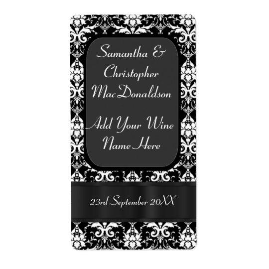 Black and white damask wedding wine bottle