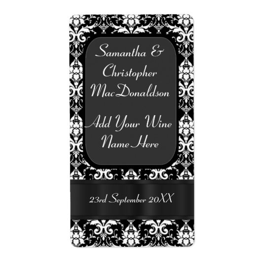 Black and white damask wedding wine bottle shipping label