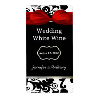 Black and White Damask Wedding Wine Labels
