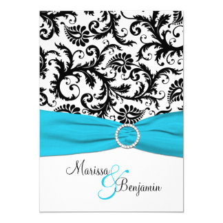 "Black and White Damask with Blue Faux Ribbon 5"" X 7"" Invitation Card"