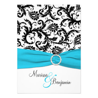 Black and White Damask with Blue Faux Ribbon Custom Invites