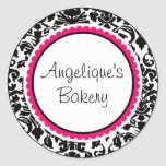 Black and White Damask with pink custom label Stickers