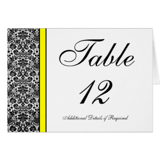 Black and White Damask with Yellow Table Number Card