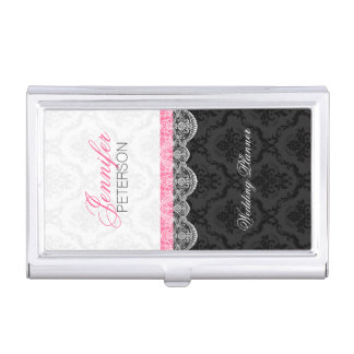 Black And White Damasks And Lace Wedding Planer Business Card Holder
