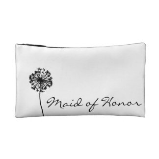 Black and White Dandelion Maid of Honor Makeup Bag