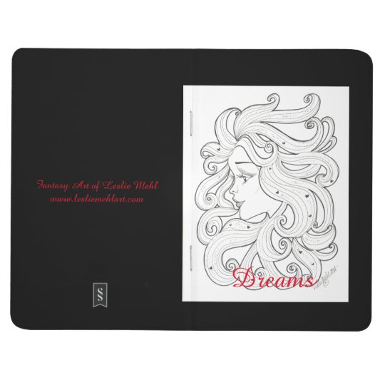 Black and White Deco Girl with Hearts Journal