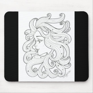 Black and White Deco Girl with Hearts Mousepad