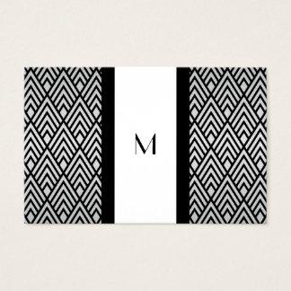 Black and White Deco Monogram Reg Size Business Card