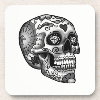 Black And White Decorated Skull Coaster