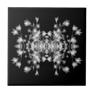 Black and White Decorative Floral Pattern Tile
