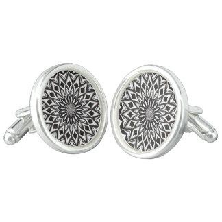 Black And White Decorative Mandala Cuff Links