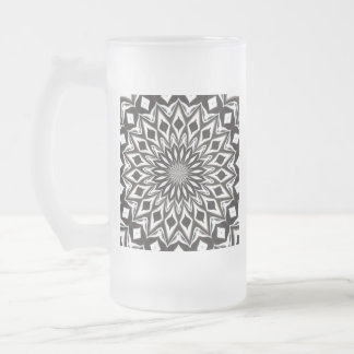 Black And White Decorative Mandala Frosted Glass Beer Mug