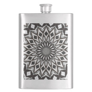 Black And White Decorative Mandala Hip Flask