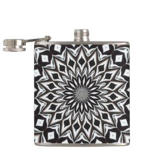 Black And White Decorative Mandala Hip Flask